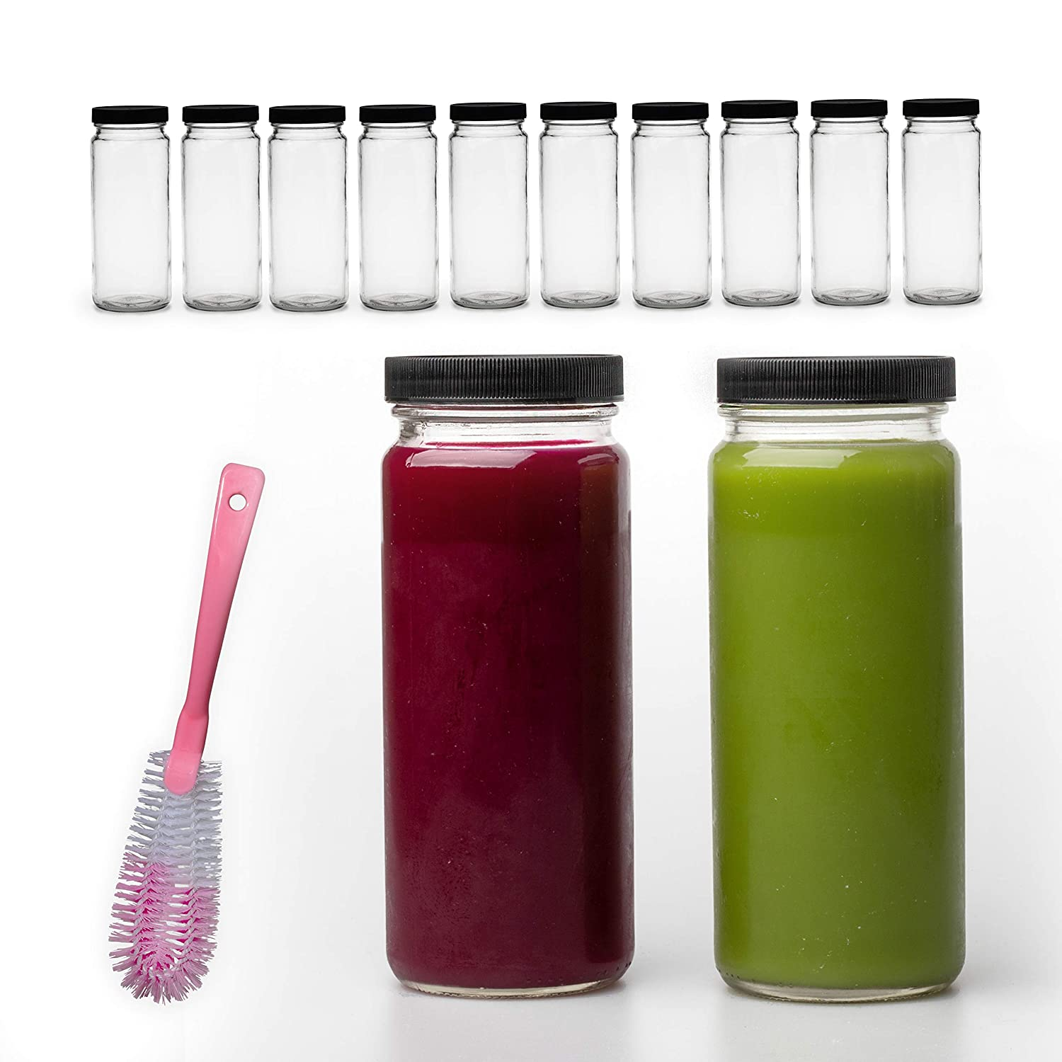 16 Ounce Glass Smoothie Bottles With Caps